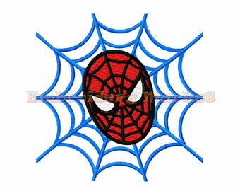 superhero face and web fill stitches Embroidery Design 2 sizes Instant Download