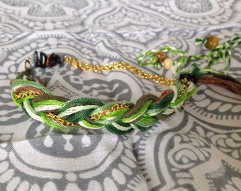 Braided Green and Gold Chain Bracelet