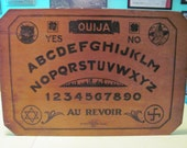 Pre WWII Wooden Ouija Board Simmons Chicago 1920 Black Cat Witch French Talking Spirit Witchboard Halloween Seance
