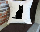 "Cat Silhouette Canvas Decorative Throw Pillow Cover, 18"" x 18"", 100% Cotton"