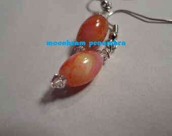 Veined Coral Earrings
