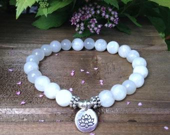 Moonstone Bracelet, Moonstone Jewelry, Yoga Mala Beads, Spiritual Healing Crystals, Awakening the Goddess-Emotional Balance-Feminine Energy
