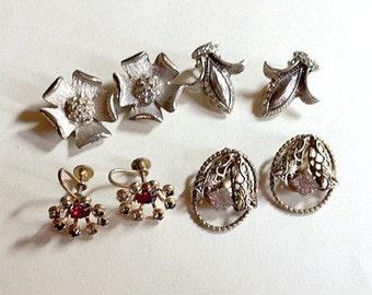 Sale Four pairs of vintage rhinestone earrings vintage earring lot vintage jewelry lot vintage craft lot rhinestone earring lot 1960s E24