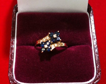 14 k Yellow Gold Ring With 8 Diamonds & 8 Blue Sapphires. 2.2 Gm, Size 6 1/2. We Do Free Sizing.