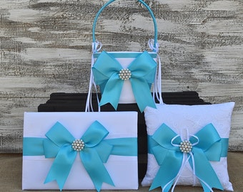 Wedding Flower Girl Basket, Ring Bearer Pillow, Guest Book Set-TURQUOISE  Made To Order Collection, Satin Ribbon, Bridal Wedding flowers