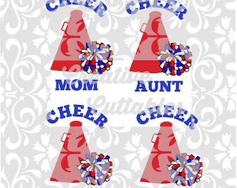 Cheer SVG Cheer Mom Dad Aunt Coach Pom poms for  Silhouette or other craft cutters (.svg/.dxf/.eps)