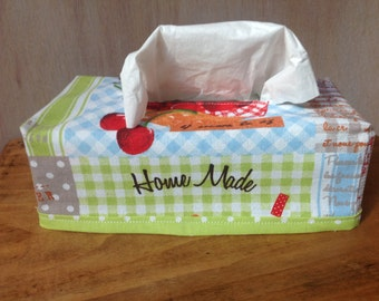 Tissue box cover 100 % coton – Cheerful French tissue – Cherry print – Kleenex box cover