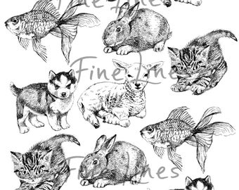 Animals digital stamps, Cute animals clipart, Scrapbooking stemps, Craft supplies, Puppy, kitten, goldfish, bunny, lamb