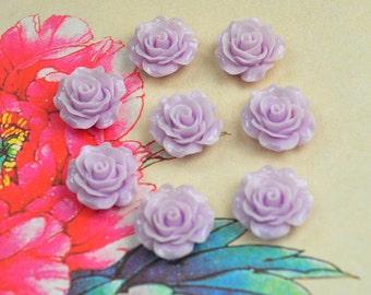 Rose Charms--50pcs LightSteelBlue Resin Rose Flower Charms--18mm