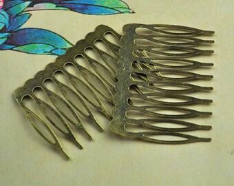 Metal Comb - 10pcs Antique Bronze Hair Combs 10 teeth(53x38mm)--hair accessories
