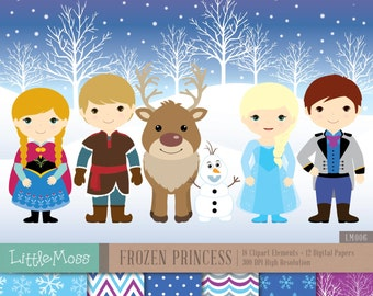 Snow Princess Digital Clipart and Papers, Frozen Clipart
