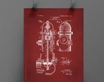 Vintage fire hydrant printable firefighter art patent art blueprint christmas gift patent art patent printable downloadable art vintage firefighter malvernweather Images