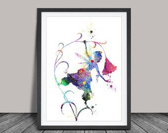 Pergamano Fairies Watercolor Art Print Home Decor Wall Hanging Nursery Art Gift idea Girls Wall Art Disney(91)