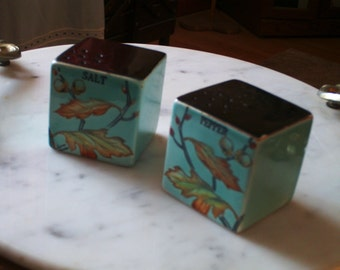 Salt and pepper shakers blue square