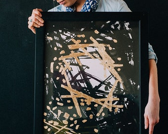 Crown // Original abstract painting, acrylic ink and silver leaf. Black, white, and gold.