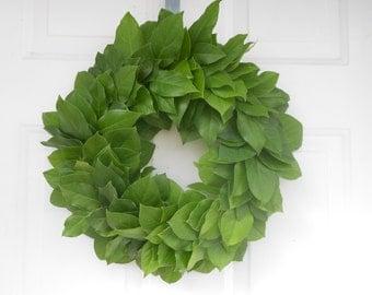 "Fresh to Dry Salal (lemon leaf) Wreath 15 - 16"" for Crafts, Wedding, Home Decor"