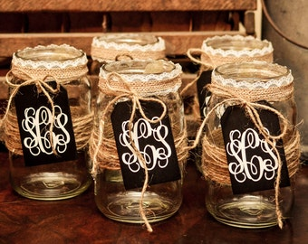 Set of 5 Burlap Mason jar, Rustic wedding, Country wedding, Mason jar, Wedding centerpiece, Rustic mason jar, Wedding decoration, Burlap