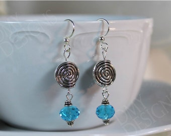 Blue Spiral Earrings