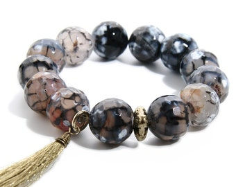 Natural Stone  Stretch Bracelet Rich Earth tones with Tassel