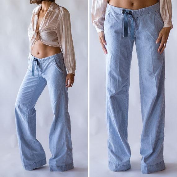 Vintage Wide Leg Diesel Jeans / Light Blue Jeans Wide Leg