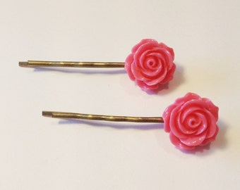Hair Slides, Bobby Pins, Hair Grips, Vintage Style Set of 2 Bright Pink with Rose Cabochon and Antique Bronze Effect Bobby Pins
