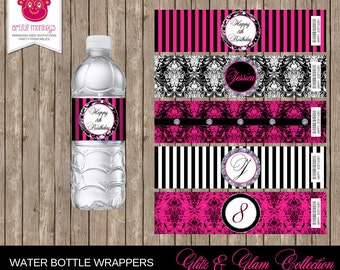 Personalised and Printable Glitz & Glam Water Bottle Labels