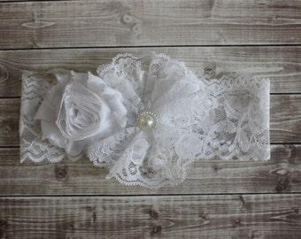 White lace baby headband, flowergirl headband, Baptism headband