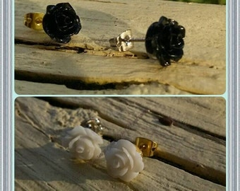 Black or White Reconstituted Stone Rose Earrings