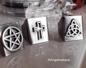 Spiritual Symbols Adjustable Rings