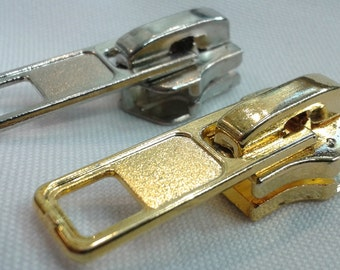 10mm Standard Zipper Pulls With Sliders - Brass or Silver