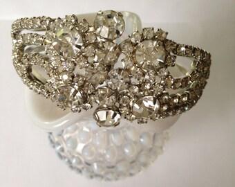 Vintage Clear Rhinestone Clamper Bracelet