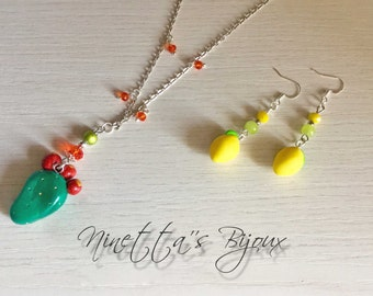 Complete made in sicily, necklace and earrings with charms