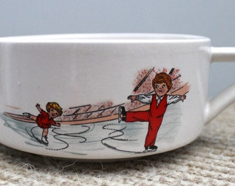 Retro Campbell's Soup Bowl Mug with Characters figure skating - Collectible