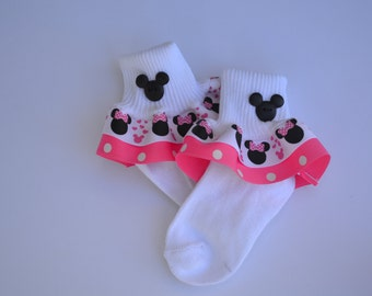 Mickey and Minnie Ruffled Socks . . .Hot Pink/White Polka Dot . . . Adorable Mickey Button Embellishment