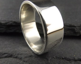 8mm Thick Polished Sterling Silver Ring - Mens Wedding Ring - Polished Wedding Band - Silver Ring Band - Sterling Ring - Silver Wedding Band