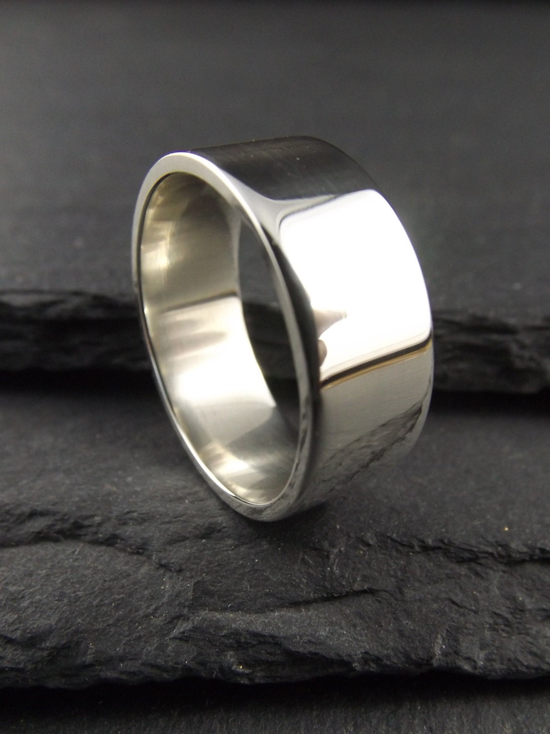 8mm thick polished sterling silver ring mens wedding ring