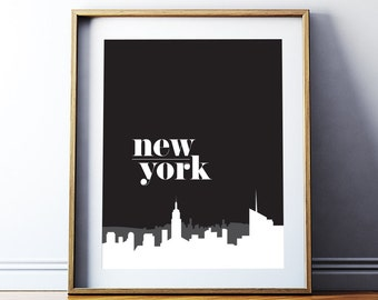 Home Decor 'New York' Printable Art Poster, New York City Wall Art Digital Print, Modern Inspirational Art, Digital Download DIY PRINT