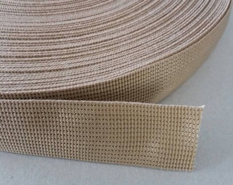 5 Yards, 1.25 inch (3.2 cm./32 mm.), Polypropylene Webbing, Khaki, Key Fobs, Bag Straps, Purses Straps, Belts, Tote Bag Handle.