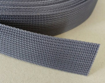 5 Yards, 1 inch (2.5 cm.), Polypropylene Webbing, Dark Gray, Key Fobs, Bag Straps, Purses Straps, Belts, Tote Bag Handle.