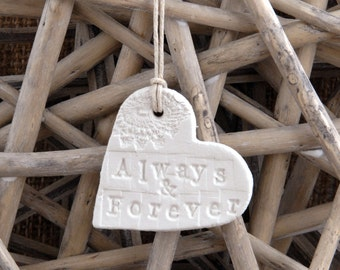 Small Always & Forever or Love Lace Clay Hanging Heart, Wedding Bouquet Charm, Heart Ornament, Clay Tag, Wedding , Gift Tag