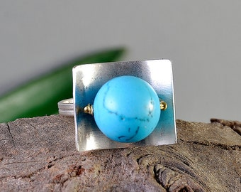 Turquoise silver ring, square silver ring, rectangular ring, adjustable ring, solitaire ring, middle finger ring, healing stone ring