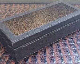 Leather jewellry box, trinket box, hair on hide, accessories