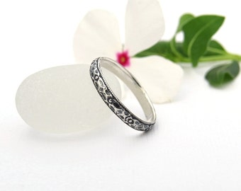 Sterling Silver Thin Floral Stacking Ring - Vintage Style Floral Pattern Silver Ring - Thin Floral Band