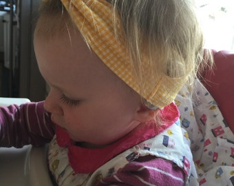 Yellow gingham childs cochlear implant headband