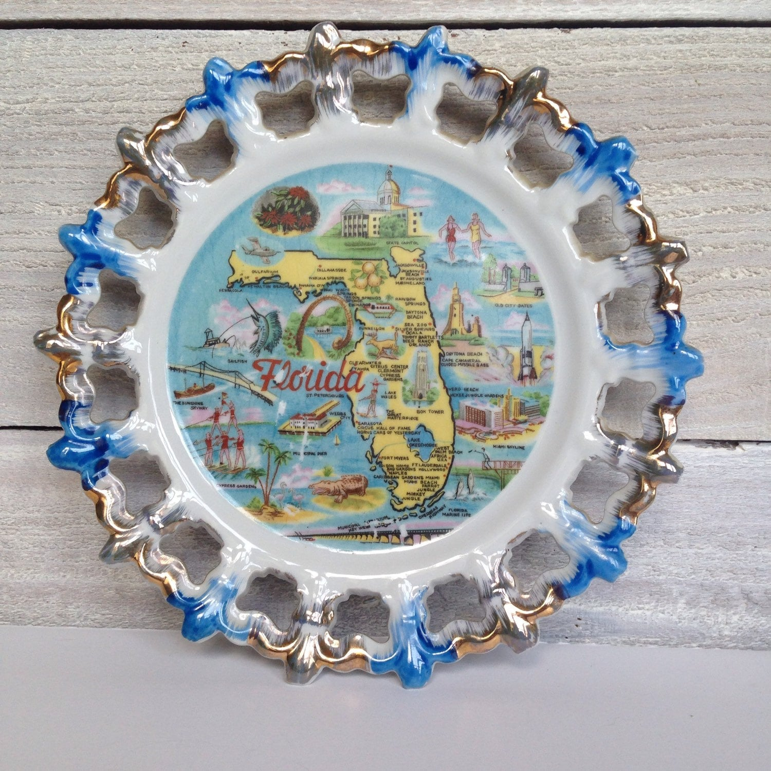 Vintage Florida Souvenir Plate By Thriftingshereditary On Etsy  sc 1 st  Castrophotos & Antique Plates Florida - Castrophotos