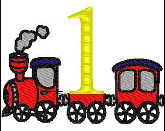 First Birthday Train Embroidery Design