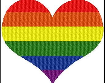 Gay Pride Rainbow Heart Embroidery Design