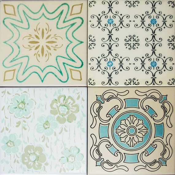 Italian Tiles Italian Ceramic Tile Mail: Italian Ceramic Tiles Vintage Set Of 4 By AManoDesignIT On