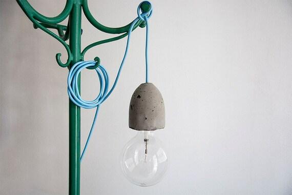 Lampade Di Cemento: Illuminazione vintage cemento e gabbia di ferro lampada ombra.