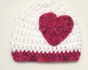 Crochet Baby Girl Hat White with Pink  Shimmer Heart, Newborn Photography Prop